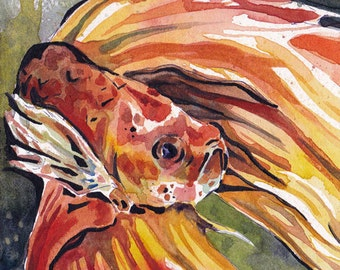 Print of Orange Betta Fish - Reproduction of Original Watercolor on Paper Painting by Jen Tracy - Orange Fish Wall Art