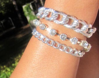 Silver Bracelet Set   Silver Bracelet Stack   Set of Bracelets   Textured Silver Bracelet   Chunky Chain Bracelet   Chain Link Bracelets