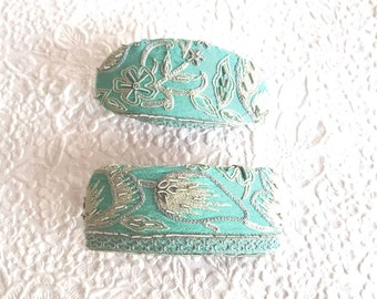 Sea aqua hair barrette, embroidered clip, beaded ponytail holder, 2 sizes available