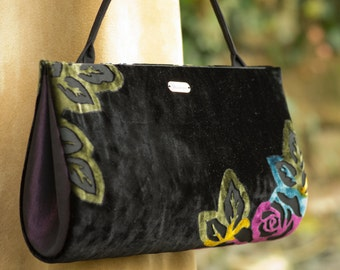 Elegant, stylish, one of a kind, black devoré purse, unique handmade handbag with colorful flowers and fabric top handle, evening bag