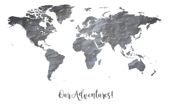 Monochrome print world map custom quote poster slate wall art adelo a tus favoritos para volver ms adelante gumiabroncs Image collections
