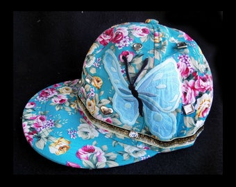 flower baseball cap - butterfly baseball hat -fashion cap, flower trucker  hat, decorated cap, teal baseball hat,  -  # 70