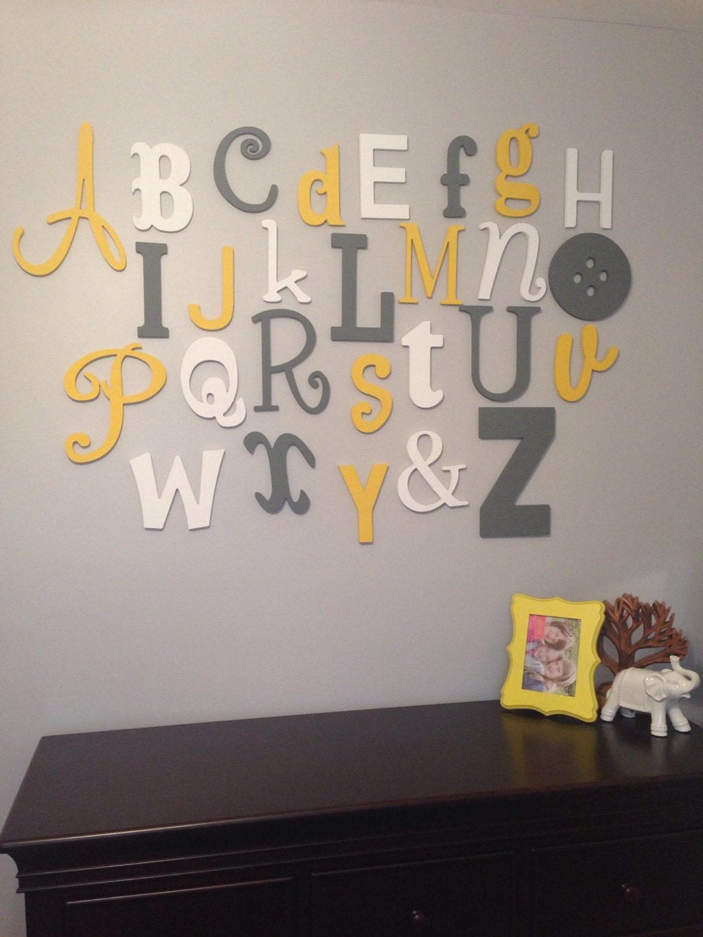 Alphabet Letters For Wall Painted Wooden Alphabet Set Mixed Wood Wall Letters Abc