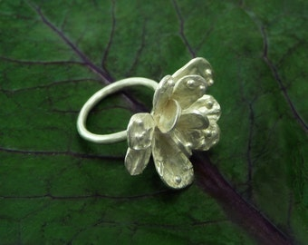 Flower Ring, Sterling Flower Ring, Flower Silver Ring, Handmade Ring, Floral Jewelry, Silver Flower Ring, Nature Ring,  Silver Flower