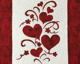 Valentines Day quilted wall hanging home decor with beads quilt  #302 red and white