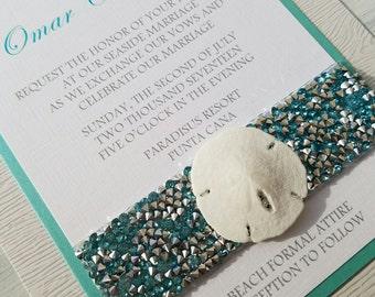 BOXED SAND DOLLAR- Natural sand dollar beach theme wedding invitation set- Jeweled Aqua Blue Sand Dollar beach wedding invitation