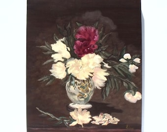 French vintage oil painting Flowers in decorative ceramic vase still life signed unframed on canvas
