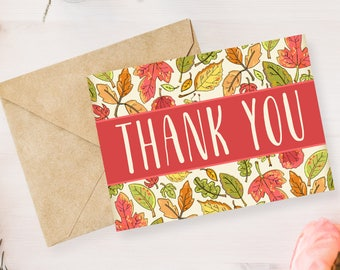 Digital Printable Thank You Notes, Thank You Card, Bridal Shower, Baby Shower, Wedding - Autumn, Leaves, Fall, Note Card- 5x7 TY002pink