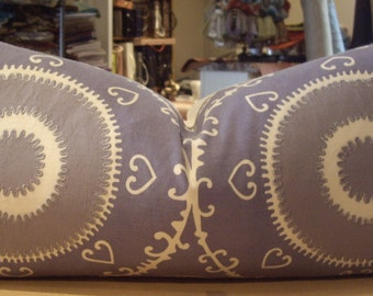 """One Beacon Hill Lilac """"SAMARKAND"""" Embroidered Suzani Custom Bolster Pillow - Brunschwig & Fils Back - 12"""" by 25"""" - 4 PILLOWS AVAILABLE"""