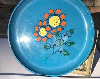 """Vintage Ro Lo 10"""" Round Serving Tray Hard Plastic Made in Japan Vivid Blue"""