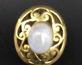 Moonstone brass ring