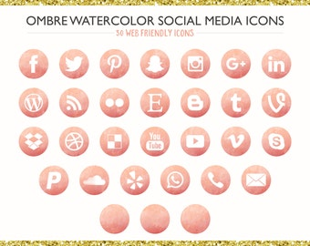 120 Pink Ombre Watercolor Social Media Icons! PNG files- Digital Download- Blog/Wordpress/Web/Email Friendly