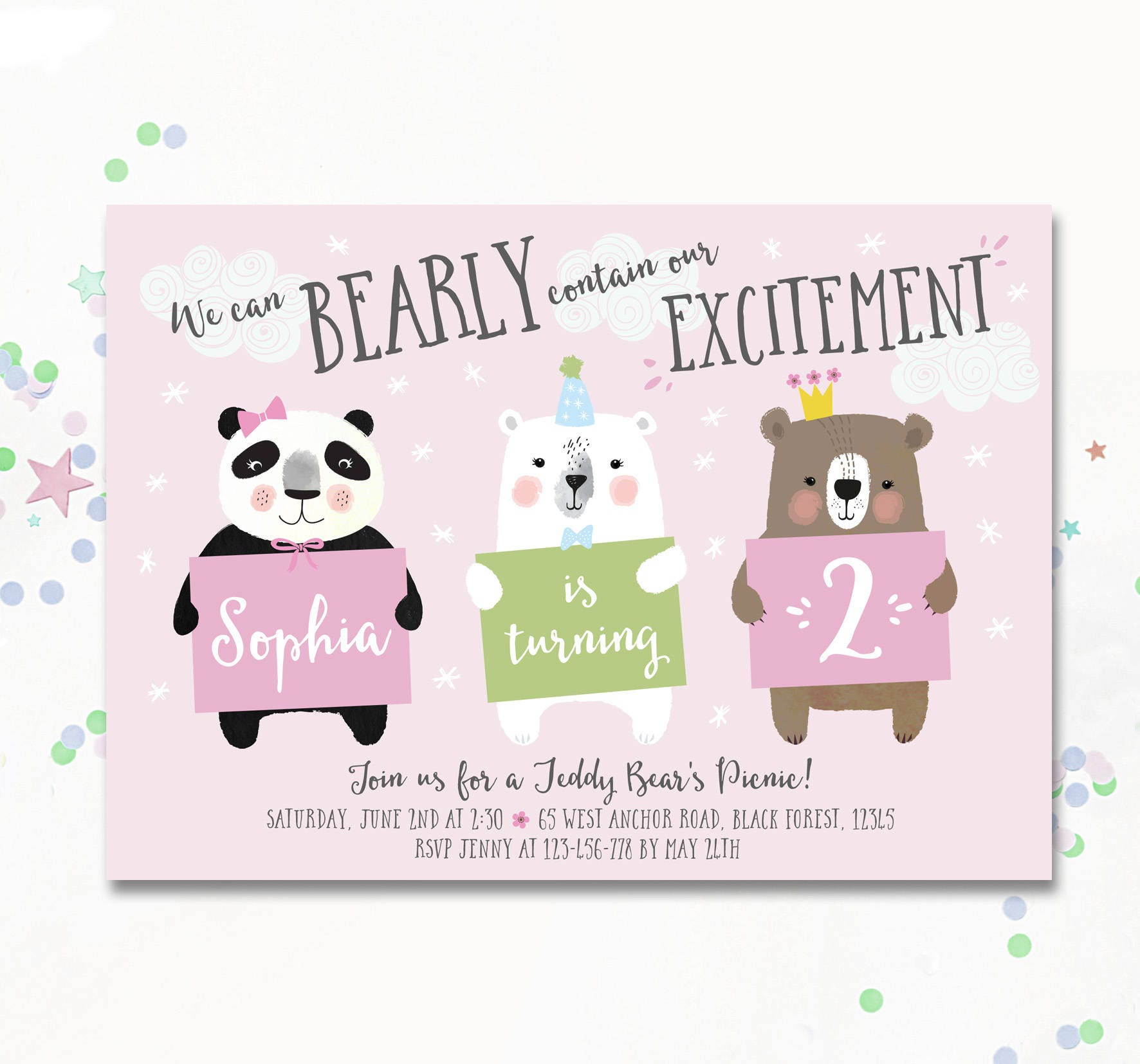 Teddy Bears Picnic Birthday Invite Bear Invitation Polar