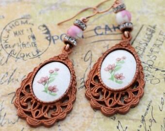 Guilloche Enamel Earrings, 1928 by B'sue Floral Earrings, Victorian Style Earrings, JewelryFineAndDandy, Gingerbread Brass Patina Earrings