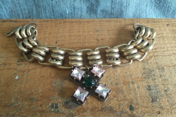Authentic Tory Burch pink and green Abella chain link bracelet