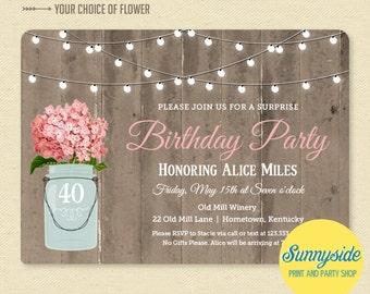 Rustic Mason Jar Birthday Invitation - Surprise Birthday Party Invitation - Printable Barnwood & Lights Birthday Invite