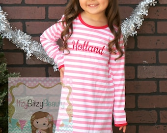 Girls Christmas Nightgown - Night Gown Ruffle Dress - Pink Christmas Pajamas -  Pink And White Stripe - Embroidered Dress - Valentines Dress