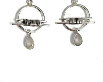 Moonstone earrings,  hoop earrings, tribal earrings, 925silver earrings, Gemstone earrings, moonstone Drop earrings, dangle earrings, boho G