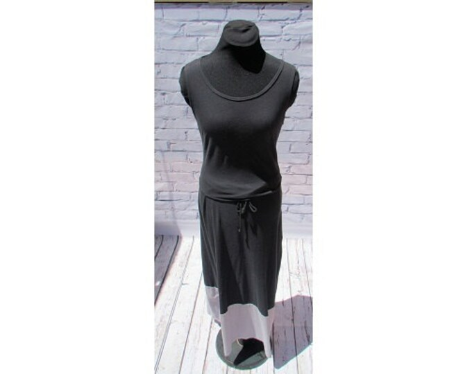 Black and Gray Organic Cotton Maxi Dress