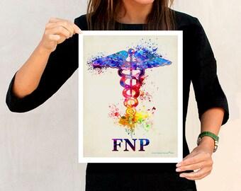 """Watercolor Family Nurse Practitioner (FNP) - Caduceus, 11x14"""",Medical Art Decor, Nurse Practitioner graduation gift, FNP certification print"""