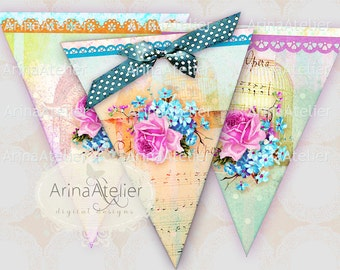 Shabby Chic Banner - digital collage sheet - set of 2 sheets