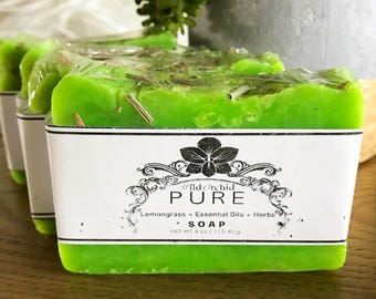 Lemongrass + Essential Oils + Herbs Soap Bar-100% Handmade