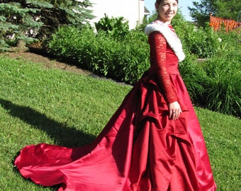 Red queen costume (small/medium), halloween, stage, queen, Once Upon a Mattress, southern belle, ballgown, historical, corset back,  fairy