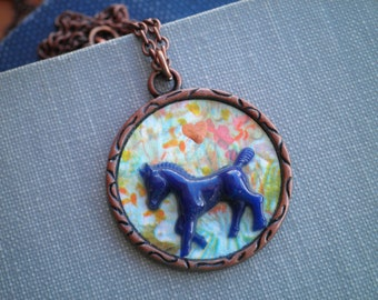 Vintage Horse & Flowers Charm Necklace - Floral Paper Ephemera Mini Blue Horse Button Diorama Pendant - Retro Equestrian Animal Jewelry Gift