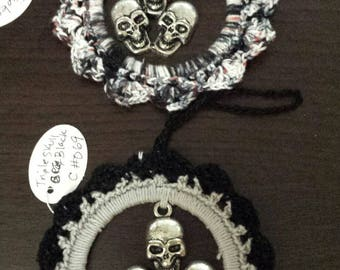 Crocheted  2 AnyTime Ornaments  skulls goth  inventory clearance