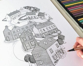 Line Drawing Of Your House : Cute quirky black white detailed line drawing
