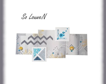 abstract triptych NORDICA 100 * 50 table table shapes geometric blue grey white mustard yellow duck and Scandinavian style silver