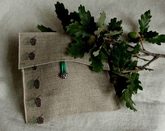Pouch pattern pinecones, envelope for gifts 16.5 x 16 cm gift box