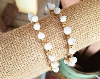 Moonstone Bangle, neutral stone bangle, white bangles, Bangle Stacks, stack stone bangles, gemstone bangles, gemstone jewelry, simple