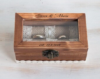 Personalized ring box Wedding ring box Ring bearer box Glass Wedding box Engraved ring box Proposal box Ring bearer pillow Custom box holder
