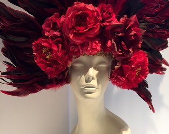 Red Headpiece- Day of the Dead- Rose Headpiece- Flower Headpiece- Flower Headdress - Flower Headband- Burlesque- Showgirl -