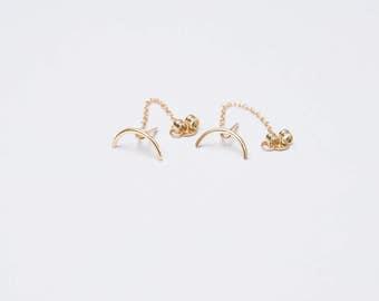 Curved bar earrings - half circle earrings - half moon studs - gold post chain earrings - gold chain earrings - chain post studs - earrings