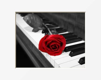 Black White Red Rose Flower On Piano Keys Home Decor Wall Art Matted Picture