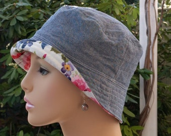 Womens Chemo Hats Cancer Caps Cancer Hats 'Denim'  Blue Chambray   SMALL-MEDIUM
