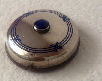 Antique German Art Deco Silver Blue Enameled Pushbutton Round Doorbell Very Rare