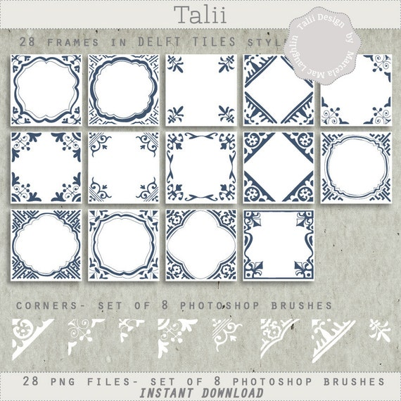 Delft tiles labels clipart set photoshop brushes 28 frames