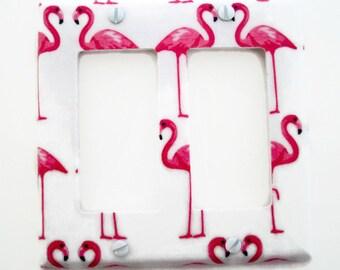 Rocker Light Switch Cover - Pink Flamingos Double Rocker - Flamingo Light Switch Plate