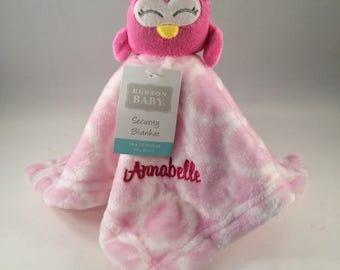 Personalized Baby Pink Owl Security Blanket, Lovey - Great Baby Shower Gift