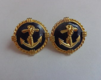 Vintage Navy Gold Toned Anchor Earrings,  Sailing Earrings, Nautical Earrings, Anchor Gold Tone Earrings, Anchor Jewelry, Vintage Earrings