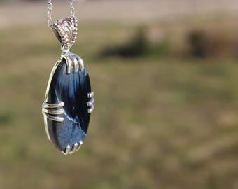 Pietersite - anti-spleen stone - blue pietersite set in 925 Silver necklace