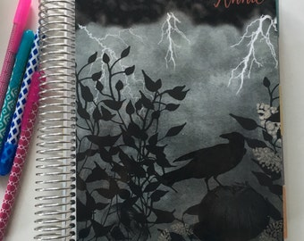 Planner Cover for Erin Condren, Happy Planner, Recollections, Halloween, Pumpkin, Raven, Personalized, Black, Thunder, fog, black leaves
