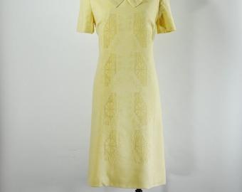 60s embroidered dress / 1960s yellow linen dress / short sleeve shift dress