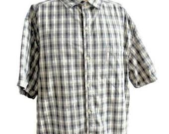 Columbia Brown Tones Checkered Print 100% Cotton Shirt Size XXL