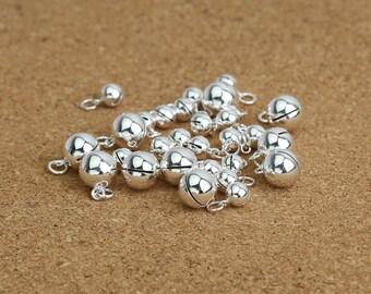 Sterling Silver Bell Charms, Jingle Bell Charm, 925 Silver Bell Charm, Round Bells 5mm 6mm 7mm 8mm 10mm 12mm 14mm 16mm 18mm - TF97