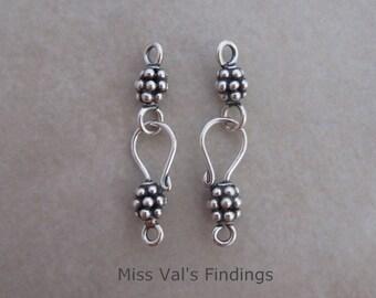 2 sterling silver clasps beaded Bali hook eye