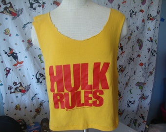 Vintage 80's Hulk Rules Hulk Hogan Tank Top Shredded Tank Top Crop Top T Shirt M